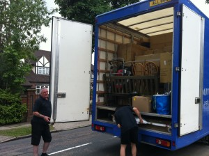 Tight Squeeze on the removal lorry